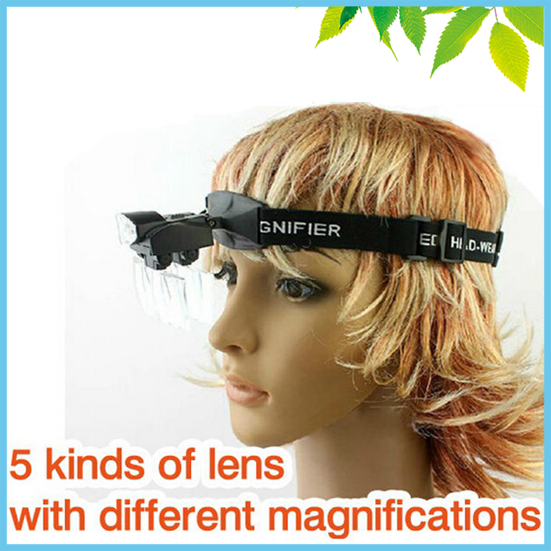 Head Visor Magnifying Glass LED Portable Headband Magnifying Glasses Surgical Dental Magnifier Loupe 1X~6X 2 5x times enlargement magnifying lens loupe glasses surgical operation magnifier adjustable sizable dental loupe