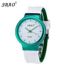 Sbao Silicone Fashion Casual Watch Women Waterproof Children Watches Top Brand Luxury Men Girl Female Clock Student Quartz Watch
