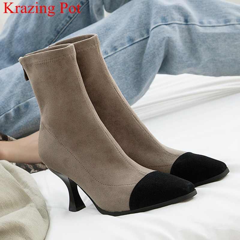 Superstar büyük boy zip akın yüksek topuklu kadın yarım çizmeler muhtasar gece kulübü streç moda çizmeler parti zarif kış ayakkabı L72