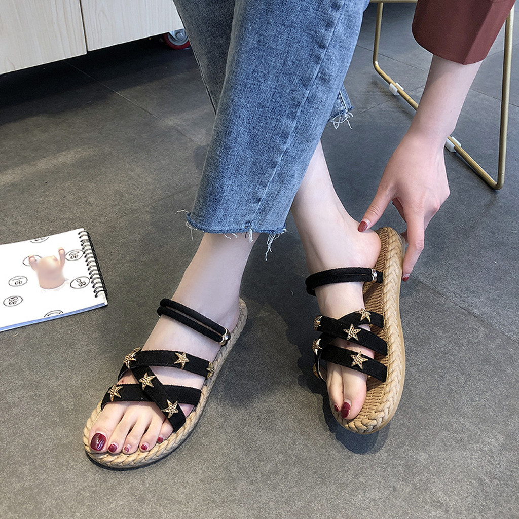 Womens Straw Shoes Summer Sandal Flat With Cross Straps Open Toe Sandals Fashion Hollow Elastic Slippers Casual Shoes ZapatosWomens Straw Shoes Summer Sandal Flat With Cross Straps Open Toe Sandals Fashion Hollow Elastic Slippers Casual Shoes Zapatos