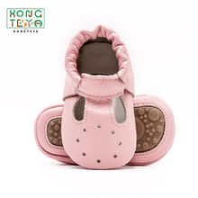 2019 Summer Pink Hollow Baby Girls Shoes Genuine Leather baby moccasins HandmadeToddler Hardsole Shoes Children Casual Footwear(China)