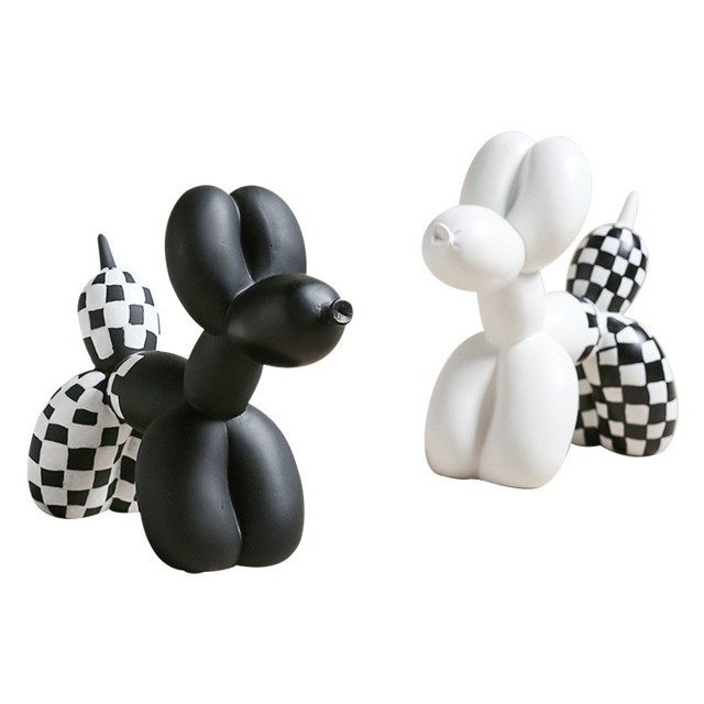 White Black Resin Balloon Dog Figurines furnishings Animal home living room decorations cute Crafts Drop shipping.jpg 640x640 - new-arrivals, decor, collectibles - Jeff Koons inspired Balloon Dog in Checker Board