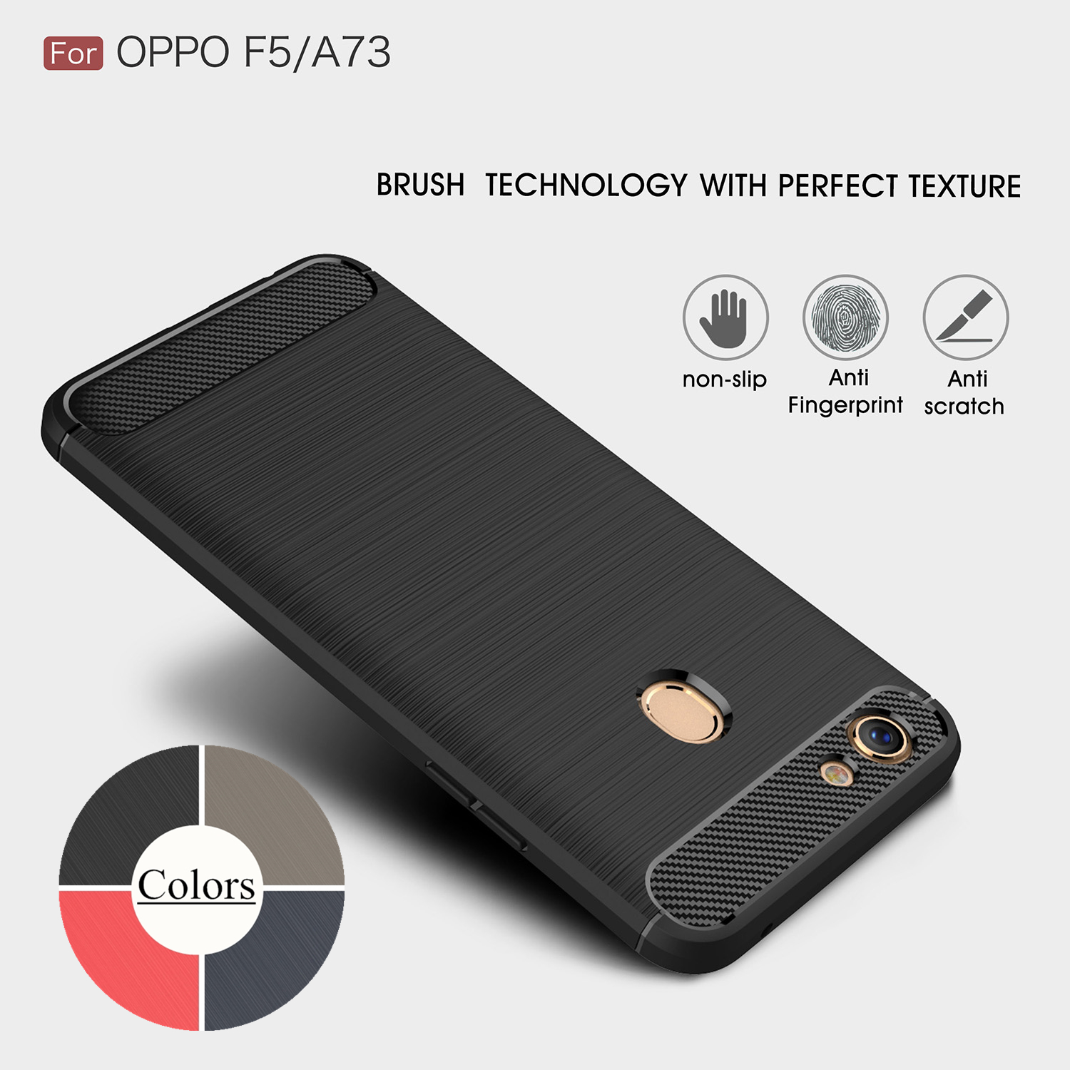 Case For OPPO F5 TPU Silicone Case Ultra-Thin Soft Cover Matte Feel Phone Case Rugged Armor