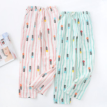 Womens 100% Cotton Gauze Striped Pijama Pants Thin Long Trousers Sleep Pants Sum