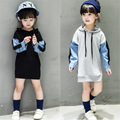 Kids Girls Long Hooded Coat Jeans Patchwork Mesh Applique Girl Hoodies Hip Hop Style Cotton Causal Jackets Children Coat Outwear