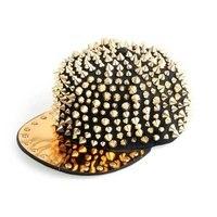 EAS Hat black cap with studs gold Hip Hop Punk Gothic