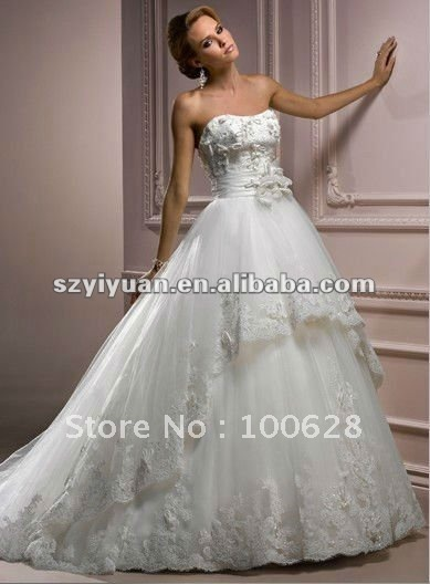 2012Hot Sale Sweetheart Hand-Made Flowers Bridal Wedding Dress