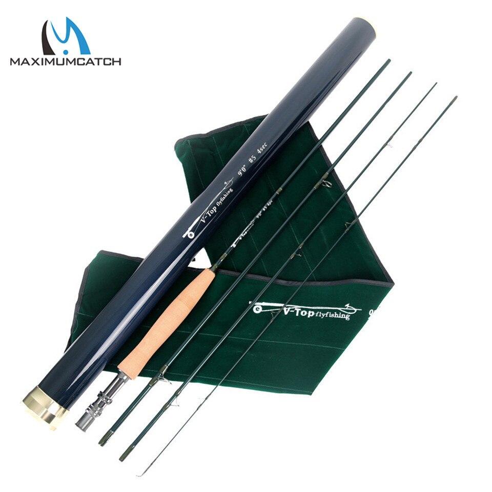 Maximumcatch 40 t + 46 T SK carbono 9FT/5/6/8WT 4 piezas AAAA de corcho con aluminio tubo de carbono volar Rod