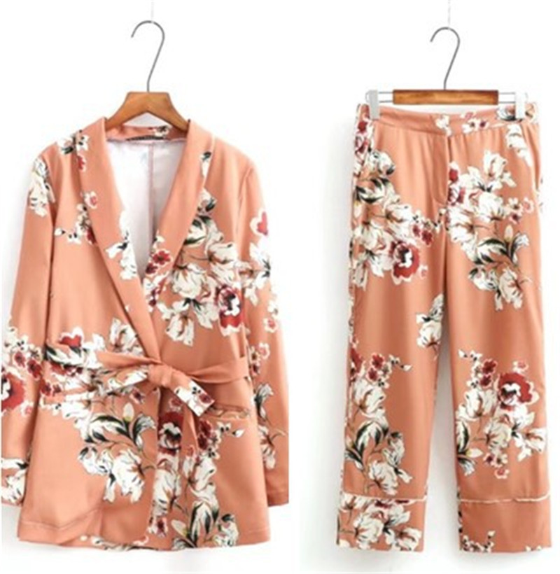 2018 Spring Fashion Office Lady Blazer Sets Long Sleeve Floral Print Blazer Suit Two Pieces High Waist Elegant Flower Print Suit