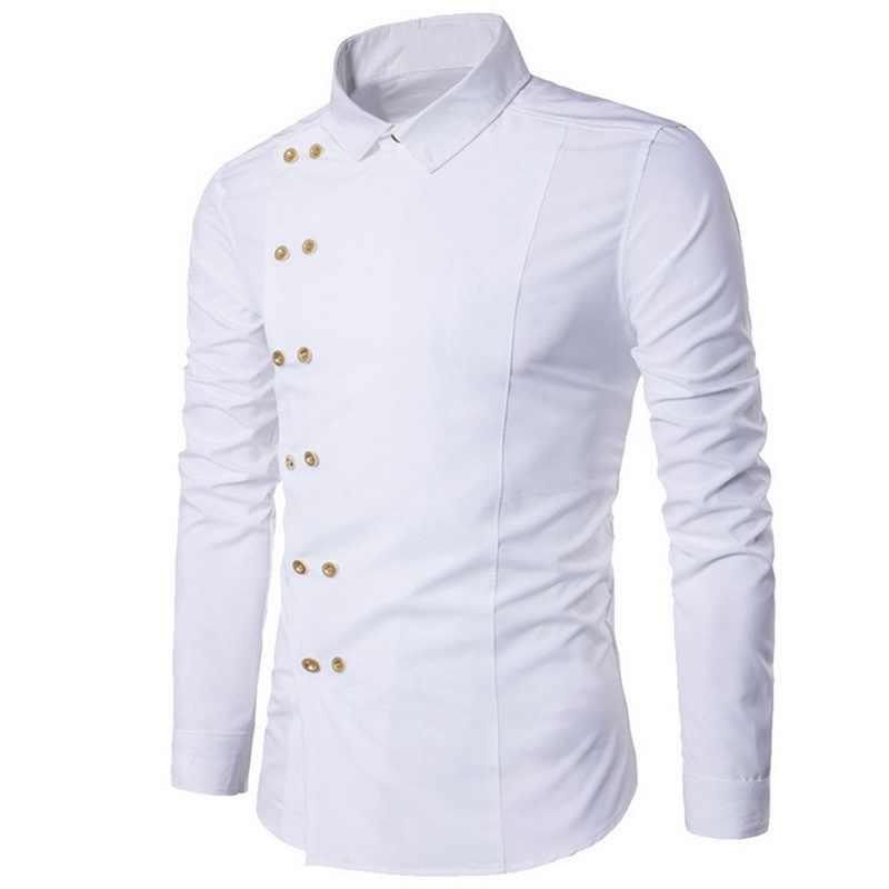 Puimentiua Plus Size 2019 Mannen Double Breasted Slim Fit Lange Mouw Turn Down Kraag Shirt Mannelijke Solid Casual Vintage Hof stijl
