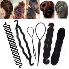 Multi-style Women Hair Twist Styling Clip Stick Bun Maker DIY Hair Braiding Tools Hair Accessories Braider DIY Hairstyle cheap skritts Acrylic Adult Barrettes Fashion Solid