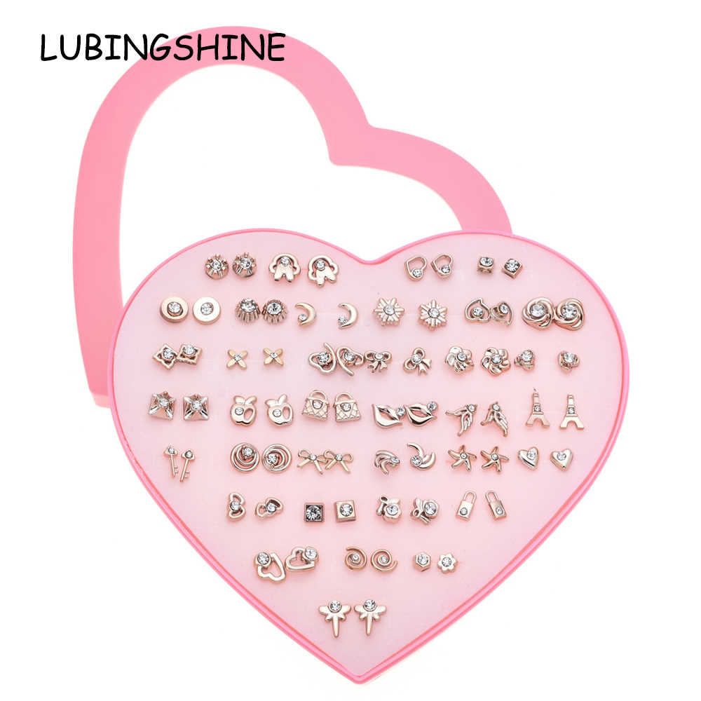 LUBINGSHINE Exquisite 36 Pairs Stud Earrings Set Child With Heart Jewelry Gold Tower Rhinestone Earrings Set Jewelry Gift