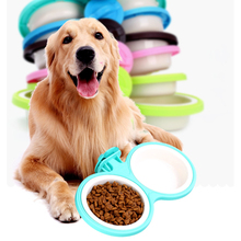Pet Dog Feeding Bowl Plastic Hanging Double bowls Food Water Feeders Colorful Durable Puppy Container Supplies