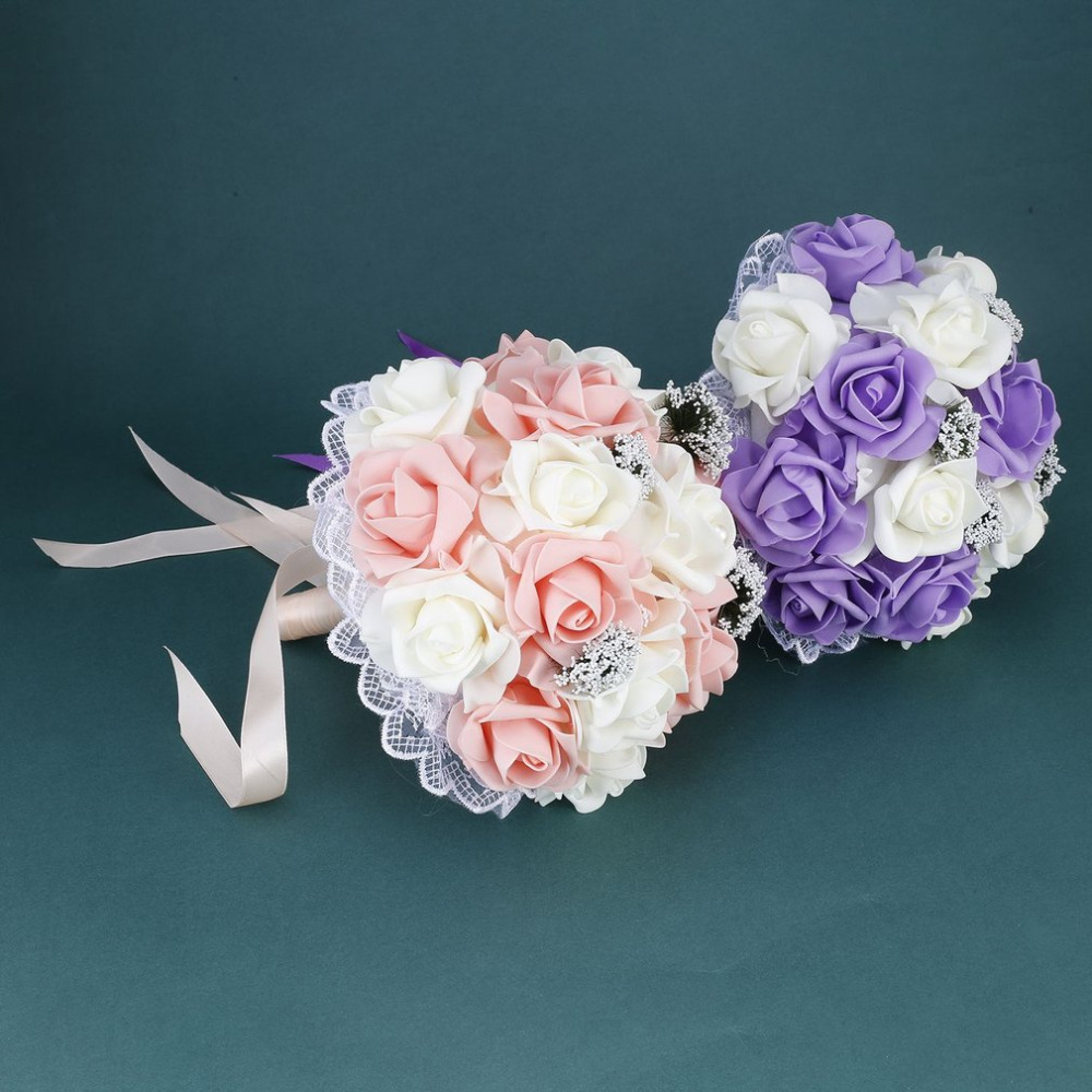 Wedding Romantic Bride Bouquet Artificial Rose Hand Bouquet Korean Style Simulation Holding Flower Wedding Supplies Hot New