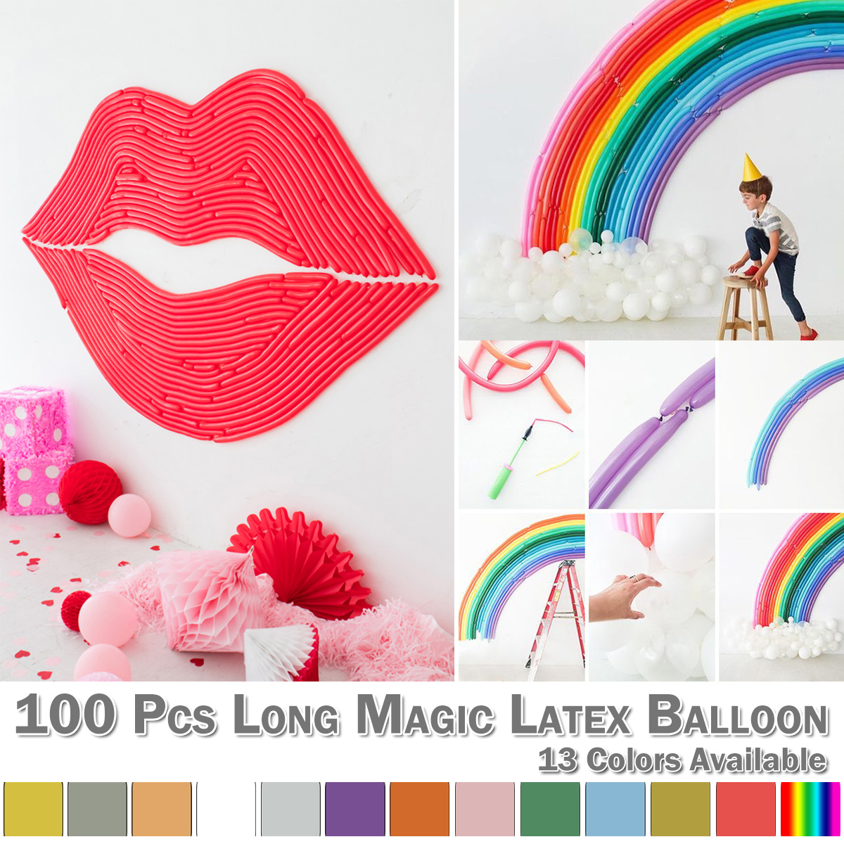 Anniversary 100Pcs Twisting Latex Balloon Mixed Color Long Magic DIY Tying Modeling Wedding Birthday Festival  D30