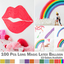 Anniversary 100Pcs Twisting Latex Balloon Mixed Color Long Magic DIY Tying Modeling Balloon Wedding Birthday Festival  D30 hot sale 100pcs multicolor long latex balloons tying twisting balloon