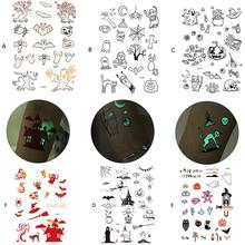 Halloween Luminous Tattoo Stickers Green Waterproof Disposable Funny Elements Tattoo Stickers Halloween Decorations High Quality gold foil metal western tribal elements tattoo stickers