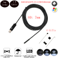 5 M 7mm Flexible Cable USB Endoscope Camera For Android PC  Smart Android Phone Borescope Inspection Snake Tube 6 LED Cam