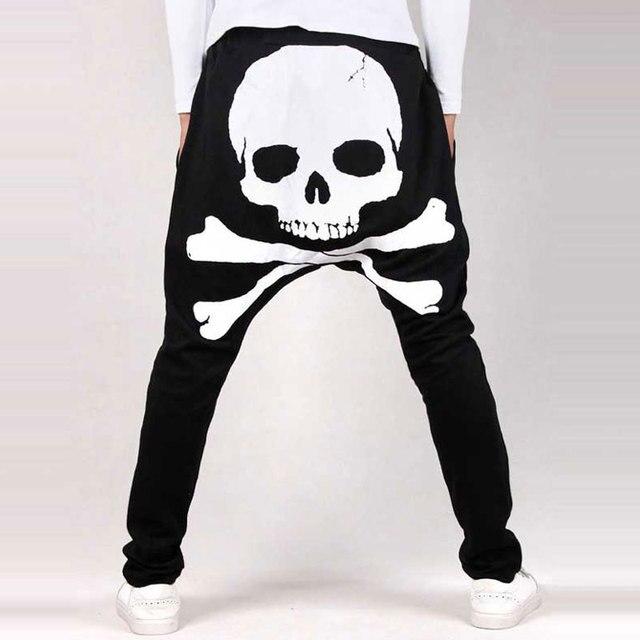 Drop Crotch Pants New Arrival Fashion Hip Hop Skull Printed Mens Harem Pants Tapered Trousers Men Sweatpants Joggers