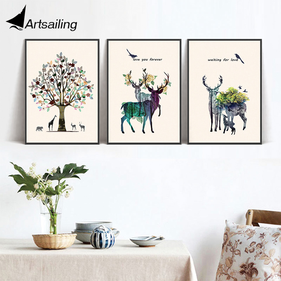 Nordic wall art Deer tree canvas Painting wall pictures ...