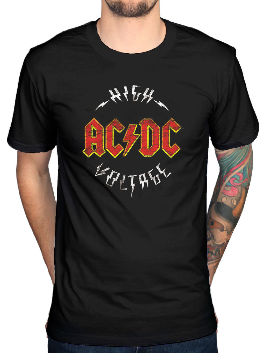 Tops Cool T Shirt Official ACDC High Voltage T-Shirt Those About To Rock Back In Black Dirty Deeds