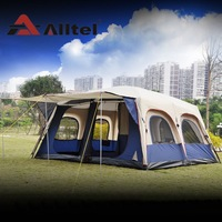 Alltel Super large anti rain 6 12 persons outdoor camping family cabin waterproof fishing beach tent 2 bedroom 1 living room