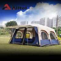 Alltel super grande anti chuva 6-12 pessoas acampamento ao ar livre cabine da família à prova dwaterproof água pesca praia tenda 2 quarto 1 sala de estar