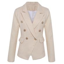 하이 스트리트 새로운 패션 2020 클래식 디자이너 블레 이저 자켓 여성 사자 금속 단추 더블 브레스트 골드 블레 이저 외부