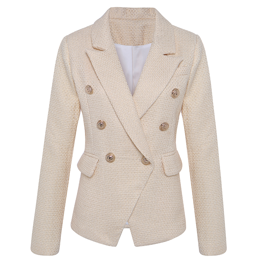 HIGH STREET New Fashion 2020 Classic Designer Blazer Jacket Women's Lion Metal Buttons Double Breasted Gold Blazer Outer