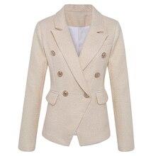High street nova moda 2020 clássico designer blazer jaqueta feminina leão botões de metal duplo breasted ouro blazer exterior