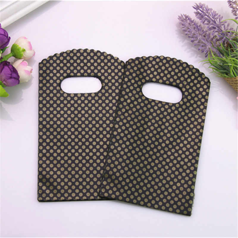 2017 Hot New Fashion Wholesale 50pcs/lot 9*15cm Simple and Beautiful Black Small Gold Dot Mini Plastic Gift Bags With Handles