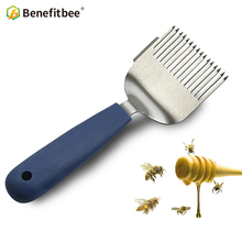 Benefitbee Brand Stainless Steel Uncapping Fork Honey Forks Bee Tools Silicone Handle Beekeeping Scratcher Beekeeper Equipment