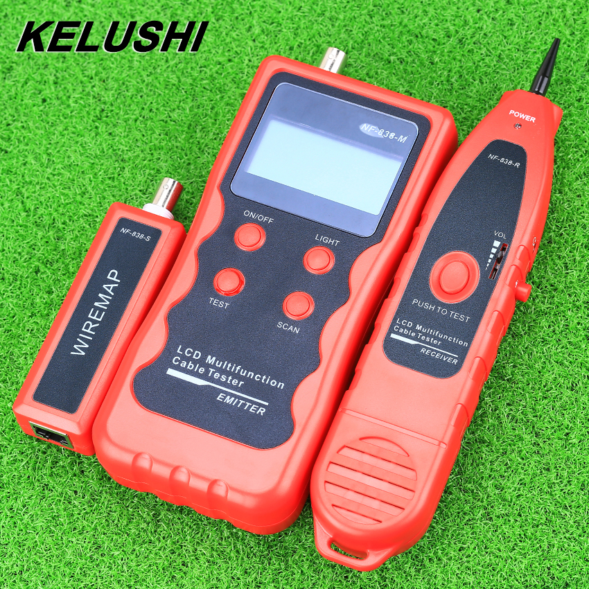 KELUSHI NF-838 Network LAN Cable Tester Tracker Phone LAN BNC Cable Finder USB RJ11 RJ45 Wire Tracer title=