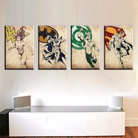 Modern Home Decor Wall Art 4 Panel Pictures Set Hand Painted America Heroes Oil Painting on Canvas Acrylic Paintings Marvel Hero