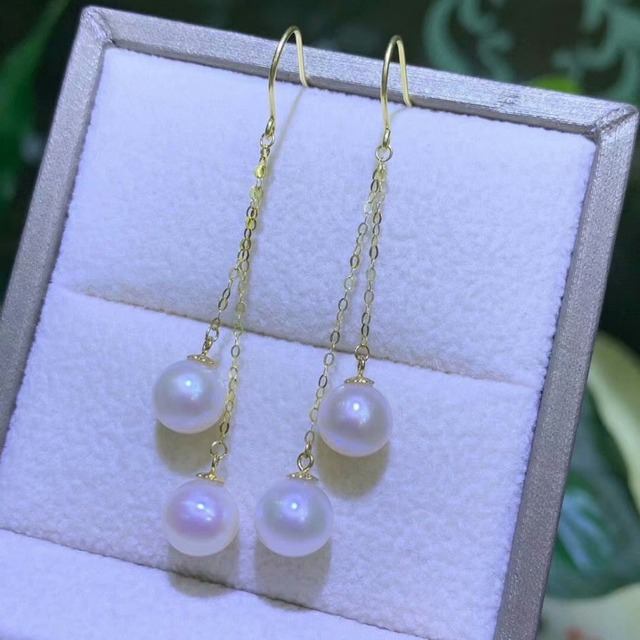 shilovem 18k yellow gold Natural freshwater pearls Drop Earrings fine Jewelry women trendy anniversary  gift myme7-7.5z 6