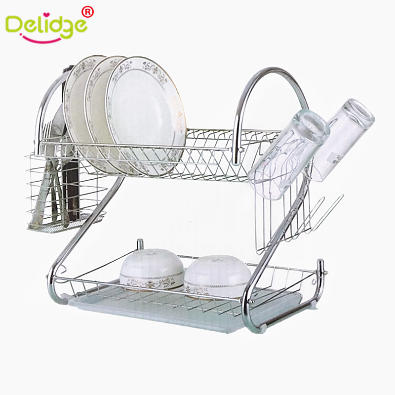 Delidge 1 pc S-Shaped 2 Layers Dish Rack Tableware Shelf Plate Cutlery Cup Rack Bowl Rack Kitchen Dish Shelf Cutlery accessories
