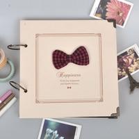 Retro style album Plaid Bow Love tower crown DIY scrapbooking photo album creative wedding wedding photo album