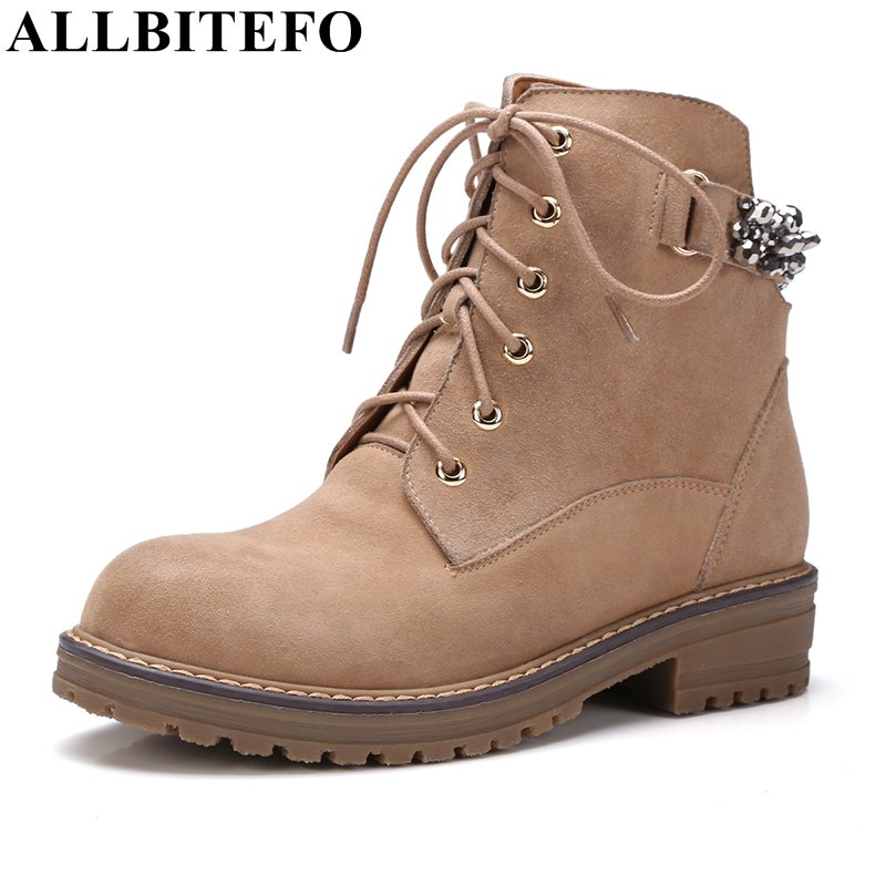 ФОТО ALLBITEFO fashion brand genuine leather low-heeled women boots thick heel rivets ankle boots for woman spring boots bota de neve