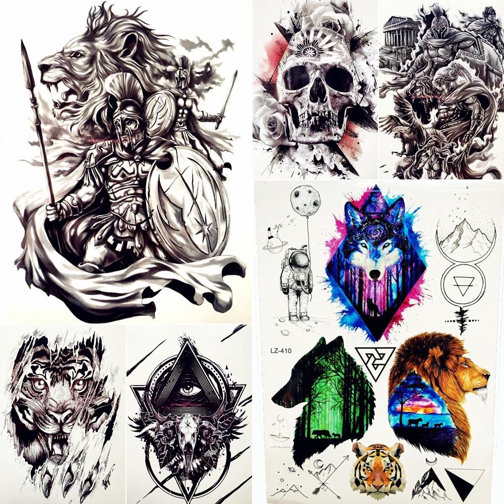 Герой Спарты Водонепроницаемый Временные татуировки Для мужчин Для женщин поддельные Средства ухода за кожей арт 21x15 см Troy древний воин татуировки Стикеры рыцарь татуировки