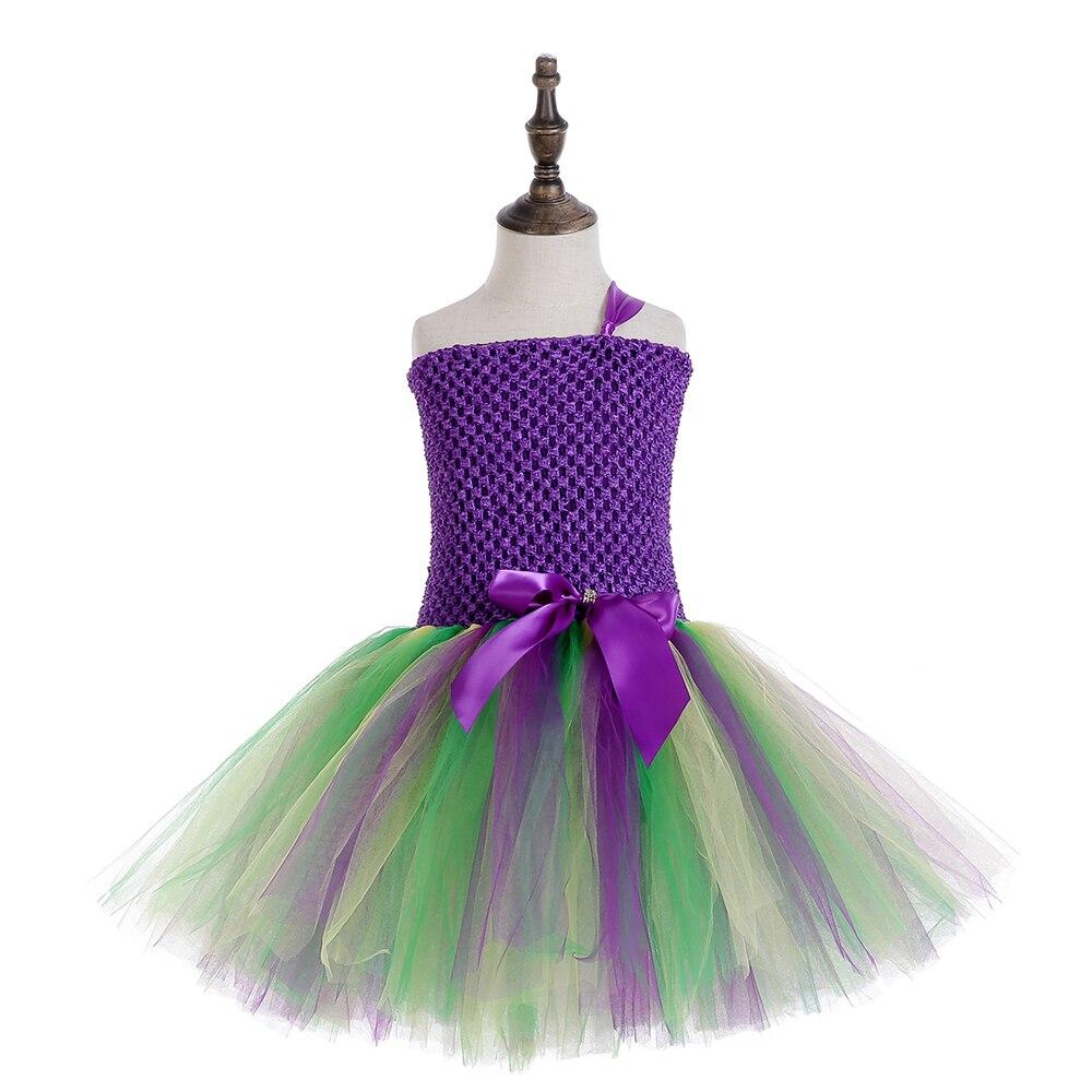 Girls Mardi Gras Party Dress Baby One Shoulder Knee Length 5 to 7 Years Teen Back School Purple Solid Tutu