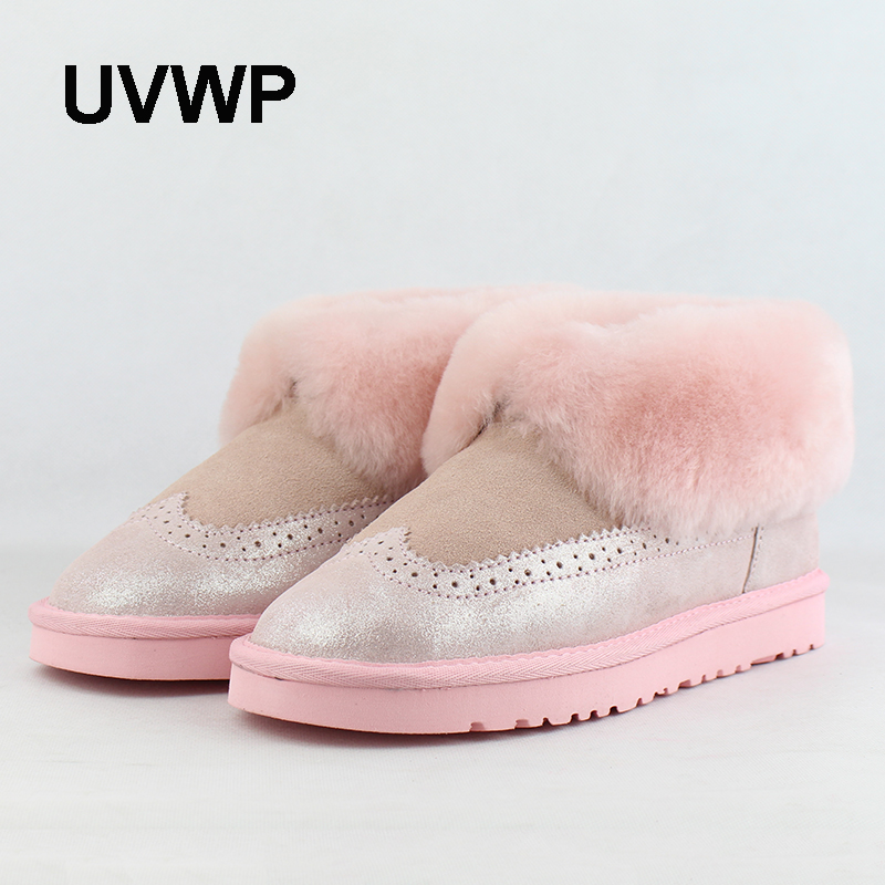 UVWP New Top Quality Women Snow Boots Natural Fur Winter Boots Women's Fashion Ankle Boots Women Warm Shoes Wool Warm Boots