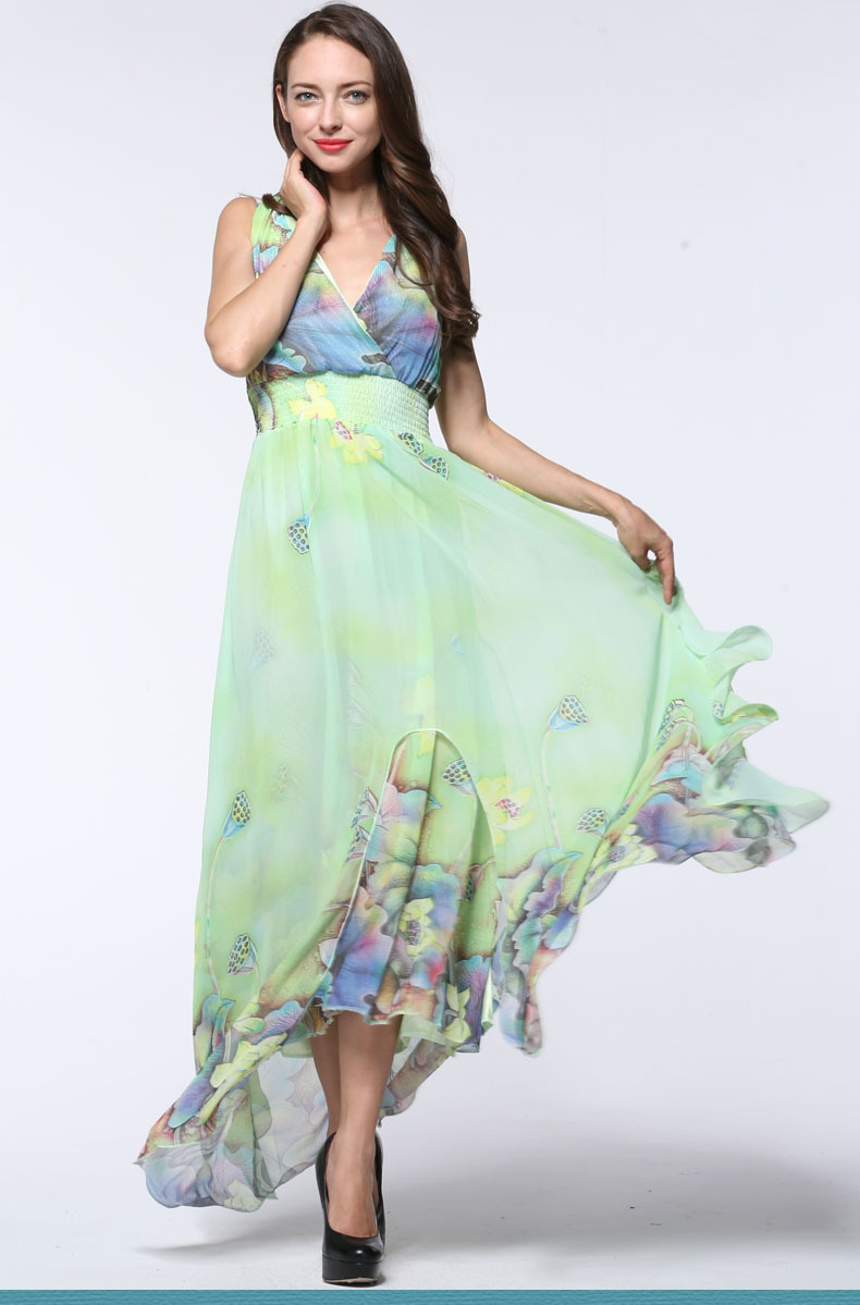 2017 Kvinder Sommer Elegant Strand Chiffon Tøj Dame Bohemisk Print - Dametøj - Foto 2