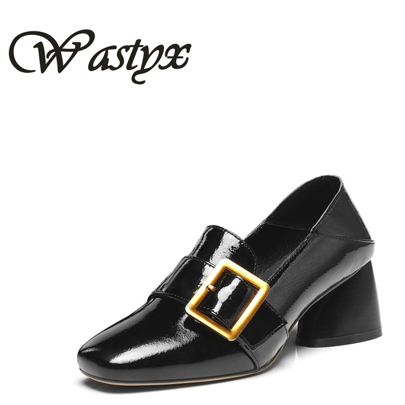 Wastyx new Women Shoes Pumps Classic Fashion Spring Autumn Elegance Square Toe Mary Janes Casual Square Low Heels Ladies Shoes xiaying smile woman pumps shoes women mary janes british style fashion new elegant spring square heels buckle strap rubber shoe