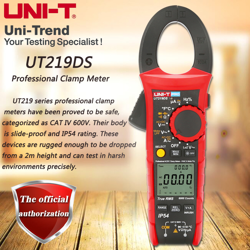 UNI T UT219DS true RMS Professional Clamp Meter; IP54 dust/waterproof digital ammeter, LoZ voltage measurementClamp Meters   -