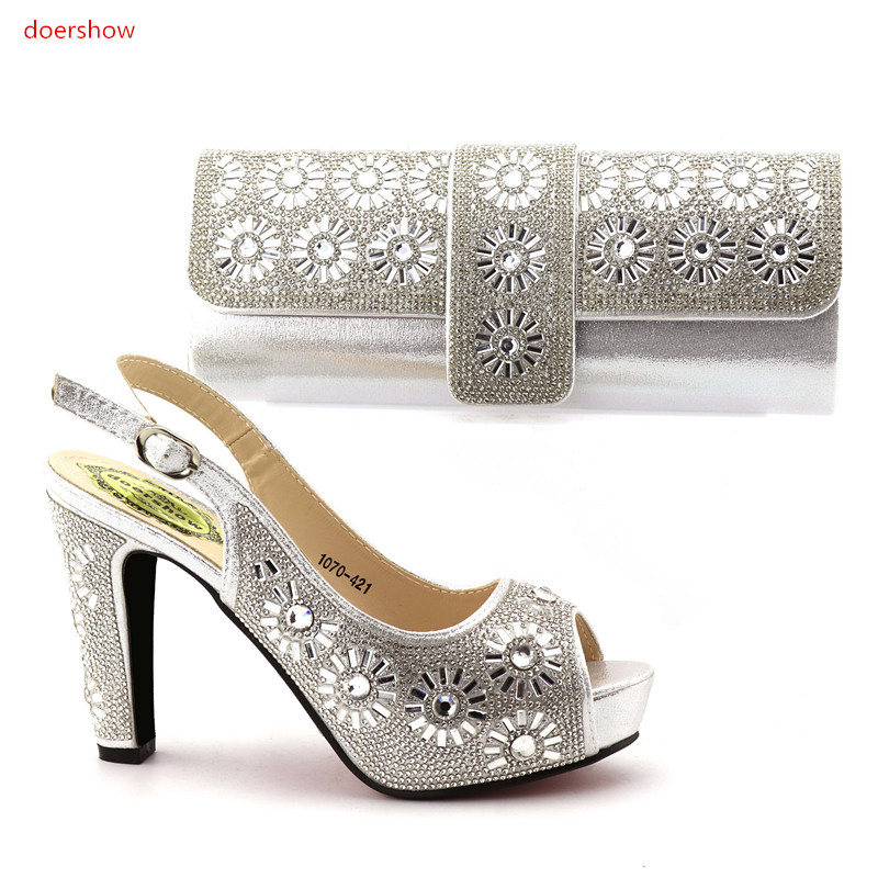 doershow Nice Design silver Italian Shoes With Matching Bags Latest Rhinestone African Women Shoes and Bags Set For Sale!IO1-5 stylish women s satchel with rhinestone and rivet design