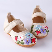 Autumn Children Canvas Shoes For Girls Embroidered Flower Shoes Sneaker Kids Glowing Breathable National Wind Classic