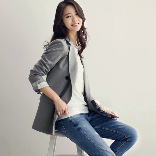 Blazer Women Double Breasted Notched Collar Korean Casual Suit Blazers And Jackets 2019 Vintage Outerwear Spring Womens Clothing