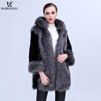 HONGZUO 2017 Winter New Arrival Women Faux Fur Coat High imitation Luxury Mink Fur Coat Hooded Artificial Fur Long Jacket PC258