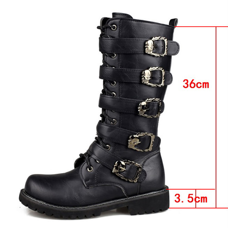 Men's Leather Motorcycle Boots Long Riding Boots Military Combat Boots Gothic Belt Punk Boots Men Shoes Tactical Army Boot