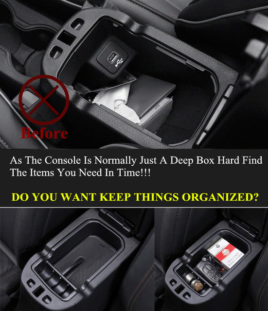 for Jeep Compass 2017 2018 2019 2020 2021 Central Armrest Storage Box Tray Holder Organizers Glove ABS Black Car Accessories 4